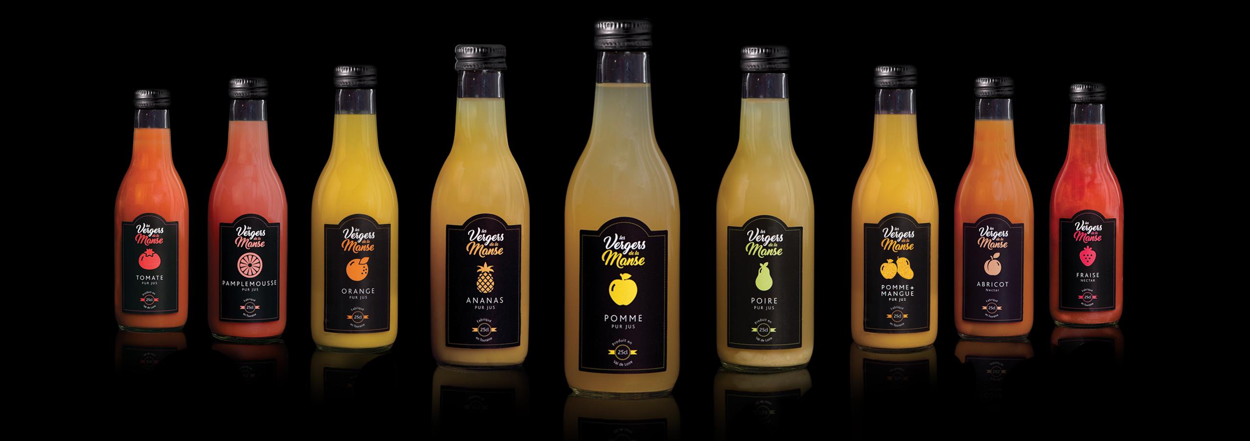 La gamme des bouteilles 25cl Vergers de la Manse